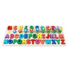 Montessori Educational Wooden Toys for Colors and Counting - Numbers Color Stacks and Alphabet