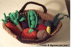Panier de Fruits et légumes au crochet