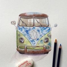 Old classic Volkswagen Van. Watercolor painting. #cars #watercolor #drawing #vw #van