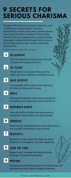 How to come across with real charisma. Tip and techniques that make a real difference. #charisma #confidence #selfesteem #infographic