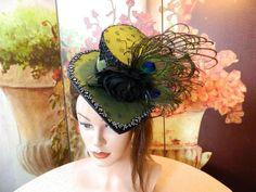 Zylinder - Damenhut grün Minihat Gothic Steampunk Hut Hat - ein Designerstück von Nashimiron bei DaWanda