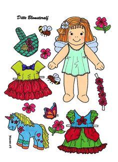 Ditte Flower Fairy Paper Doll in Colours and to Colour. Ditte Blomsteralf i farver og farvelægning. - karenspaperdolls - Picasa Webalbum