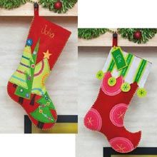 Polka Dot & Festive Tree Stockings.  the bright colors are great for H's room