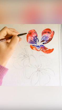 Watercolor Paintings For Beginners, Watercolor Art Lessons, Watercolor Tips, Watercolor Techniques, Watercolor Cards, Watercolor Landscape, Watercolor Illustration, Watercolor Flowers, Art Painting Tools