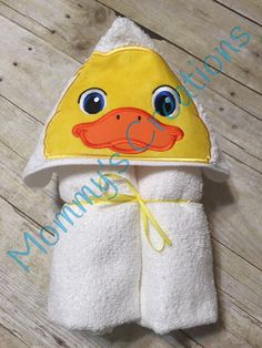 "Duck Applique Hooded Bath Towel, beach Cover Up 30"" x 54"" Tail Add On Available by MommysCraftCreations on Etsy"