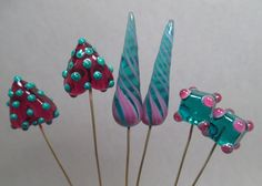 3 Pairs of Handmade Art Glass Lampwork Bead Headpins by Patti Cahill, SRA -- Teal and fuchsia
