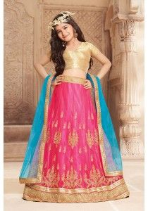 5afd9fea3dcd7 Lovely Magenta Pink Designer Kids Lehenga Choli Fabric:-Silk Work  :-Resham,Thread Zari, Stone Sequins Embroidery Work With Dupatta Paired  with the matching ...
