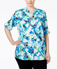 Calvin Klein Plus Size Printed Blouse Green Blouse, Plus Size Blouses,  Printed Blouse, 58f69d10b6