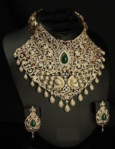 heavy jewellery | Stunning Designer Heavy Diamond Necklace from VBJ
