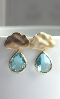 raindrop studs - cute way to brighten a rainy day