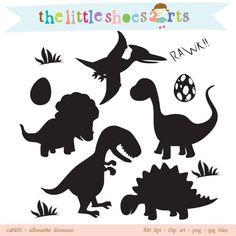 Dinosaurier Silhouette Digital Cliparts von thelittleshoesarts