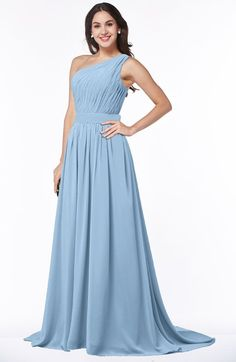 a2ece781e6a9 ColsBM Kiana Dusty Blue Gorgeous Zipper Chiffon Sweep Train Pleated Evening  Dresses