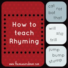 Lots of great tips for how to teach kids to rhyme -- with a link to book lists that share tons of rhyming books for kids!