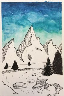 Elements of the Art Room: & grade Jen Aranyi inspired Winter Landscapes Classroom Art Projects, School Art Projects, Art Classroom, Art Ideas For Teens, Art Lessons For Kids, Landscape Art Lessons, Elementary Art Rooms, Watercolor Art Lessons, Art Trading Cards