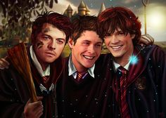 "The Hogwarts Students  First artwork of the year ^^ I'm marathoning the Harry Potter movies at the moment so it inspired me for this Harry Potter!Spn AU. Enjoy! (and a Happy New Year 2016 to everybody ♥ ). My next post will be on January 5th and I will post FIVE new artworks of the Avengers, from ""The Avengers and their favorite T-shirts"" series (yup! Five! ^^). I hope you will like them   NO REPOSTING ON TUMBLR PLEASE  #j2 #jaredandjensen #wincest #spn #supernatural #jaredpadalecki…"
