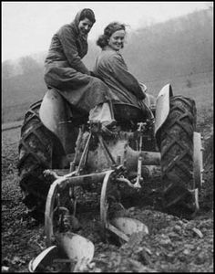 WWII Land Girls ploughing in in the freezing winter.