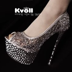 D80560 Kvoll Fashion Debutant Lace Sequins High-heeled Shoes Silver