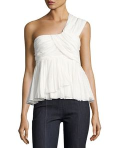 Draven+Draped+One-Shoulder+Top,+White+by+cinq+a+sept+at+Neiman+Marcus.