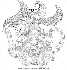 Zentangle stylized ornamental teapot with steam, hot beverage with artistically doodle elements. Ethnic hand drawn vector illustration for adult coloring pages.