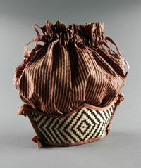 Woman's Bag    Made in United States  1800-1840    Artist/maker unknown, American    Silk, woven silk ribbons  8 x 3 x 10 inches (20.3 x 7.6 x 25.4 cm)