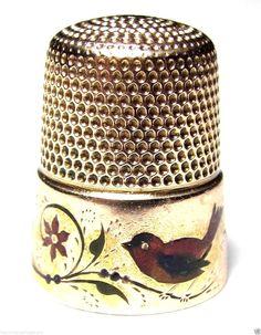 RARE ANTIQUE VICTORIAN SIMON 14K ROSE GOLD & SCARLET TANAGER BIRD ENAMEL THIMBLE