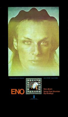 """ENO -1974 E.G.-Island promo """"Taking Tiger Mountain (By Strategy)"""".. PETER SCHMIDT designed the album cover + a series of 1500 unique lithographs of the cover image and he  collaborated w/ENO on the """"Oblique Strategies"""" Card Decks in 1975."""