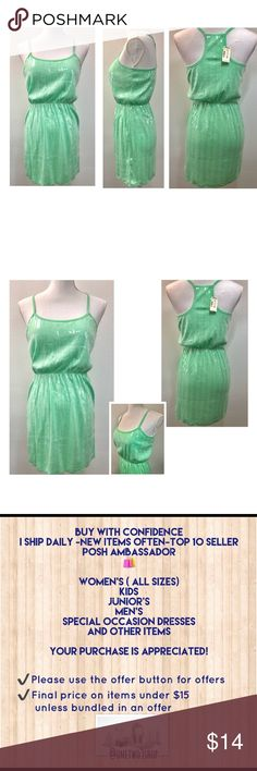 Aeropostale light green sequin dress Aeropostale light green sequin dress Stretch waist Built in bra band 50% Polyester 50% Rayon NWT  All items come from smoke free home. Aeropostale Dresses