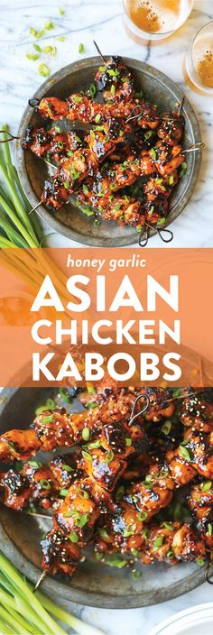 Honey Garlic Asian Chicken Kabobs Honey Garlic Asian Chicken Kabobs Honey Garlic Asian Chicken Kabobs - Damn Delicious<br> This honey garlic marinade is to die for! Marinate overnight and throw on the grill when ready to serve. So easy + fast! Chicken Kabob Recipes, Grilling Recipes, Cooking Recipes, Damn Delicious Recipes, Healthy Recipes, Meat Recipes, Snacks Sains, Honey Garlic Chicken, Sriracha Chicken