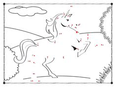 Unicorn Dot to Dot Numbers coloring pages for kids