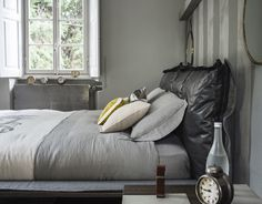 MarinaC - washed linen bed set and velvet cushions created for @Arketipo Firenze #marinacmilano