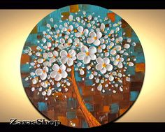 Make a statement in any room when you display this beautiful original abstract blossom tree painting on 20 stretched round canvas contemporary art in