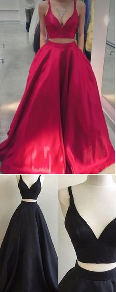 Elegant Prom Gown,Two Piece Prom Dresses,Long Prom Dress,Red Prom Dress, Formal Evening Dress, Simple Prom Dress,Ball Gown Prom Dresses,Satin Graduation Dresses,Prom Dresses