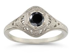 Bijoux – Tendance : Antiqued Black Diamond Ring in White Gold Jewelry Trends 2018, Latest Jewellery Trends, Sterling Silver Diamond Rings, Diamond Jewelry, Traditional Engagement Rings, Earring Trends, Expensive Jewelry, Diamond Sizes, Trendy Jewelry