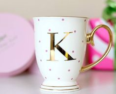 I've just found Spotty China Letter Mug. These Monogrammed Spotty Mugs with distinctive gold handles and spots will make a fabulous gift.
