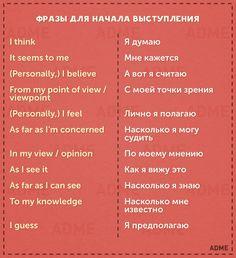 Фразы для начала выступления | Phrases to begin your speech