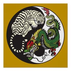 Japanese Embroidery Tiger dragon and tiger yin yang symbol poster - dragon and tiger yin and yang symbol of harmony and balance Tiger Dragon, Green Dragon, Black Dragon, Dragon Art, Japanese Tiger, Japanese Dragon, Feng Shui, Yen Yang, Dragon Sleeve Tattoos