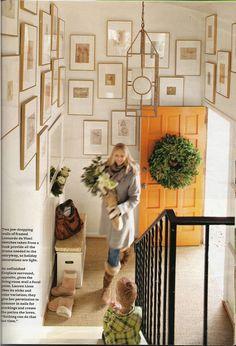 orange door + wall gallery with all gold frames Decoration Inspiration, Inspiration Wall, Interior Inspiration, Hallway Light Fixtures, Orange Door, Entry Foyer, Entrance Hall, Mellow Yellow, Interior And Exterior
