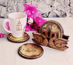 Decorative Round Wooden Drink Coasters Set of 4 and Hand Carved Duck Shaped Holder with Gold Foiled Walnut Finish -- Visit the image link more details. Note:It is affiliate link to Amazon.