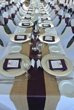 Event Priceless Weddings Purple Pinterest  runners by vancouver Ltd. Purple  Satin A table  on burlap