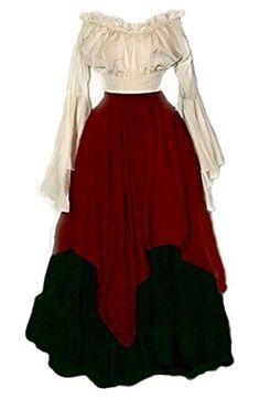 WSPLYSPJY Womens Renaissance Medieval Irish Costume Over Dress Medieval Dress Renaissance Gothic Dress Red M
