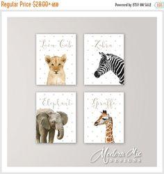 Safari Animal Nursery Art, Set of 4 Prints, Paintings, Elephant ...