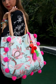 Sabina Pom Pom Beach & Yoga Bag Colorful fabric in rayon. Inspired from Tropical garden, this t Yoga Bag, Boho Bags, Fabric Bags, Summer Bags, Handmade Bags, Evening Bags, Travel Bags, Tassels, Creations