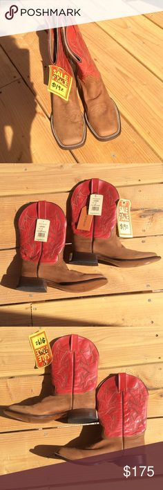 NEW Stetson 9 brown red square toe cowboy boots Still have all the tags. There is a little scuffing on them but nothing unreasonable. Theses are ladies. Stetson Shoes