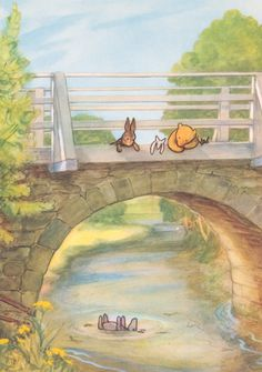 A Child Asks . Pooh and Rabbit looking over a bridge watching Eeyore floating down the river.Pooh and Rabbit looking over a bridge watching Eeyore floating down the river. Hundred Acre Woods, Winnie The Pooh Quotes, Eeyore Quotes, Winnie The Pooh Classic, Pooh Bear, Children's Book Illustration, Book Illustrations, Disney Art, Childrens Books