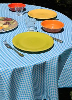 "60"" Round Light Blue Gingham Oilcloth Tablecloth"