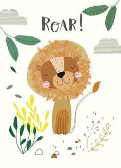 Ansichtkaart Leeuw. Kaart van een vriendewlijke leeuw met tekst Roar!. Ontwerp: Nikki Upsher.  illustratie kinderkamer babykamer decoratie pastel