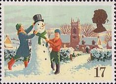 Christmas 17p Stamp (1990) Building a Snowman. #christmas #stamps