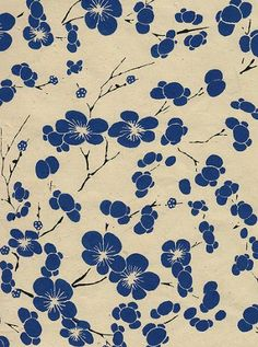 Nepalese Cherry Blossom Paper- Cobalt Flowers on Natural