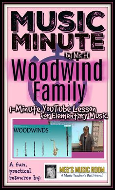 Use this 1-minute youtube video to introduce woodwinds to your students. Great for instruments of the orchestra unit! Use with your music sub! #musiceducation #musicians #woodwinds #flute #clarinet #oboe #bassoon #saxophone #recorder