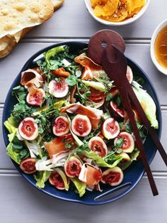 Fig, prosciutto, pear and witlof salad with pomegranate vinaigrette. Gourmet Traveller. Con Poulos.